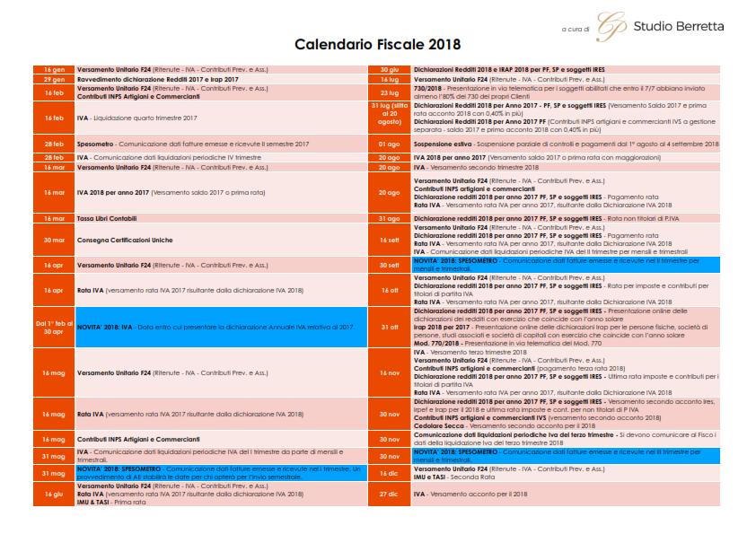 Calendario Fiscale.Calendario Fiscale 2018 Studio Berretta